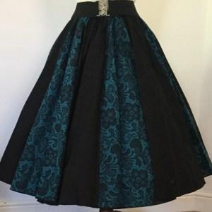 Jade Lace / Plain Black Panel Skirt