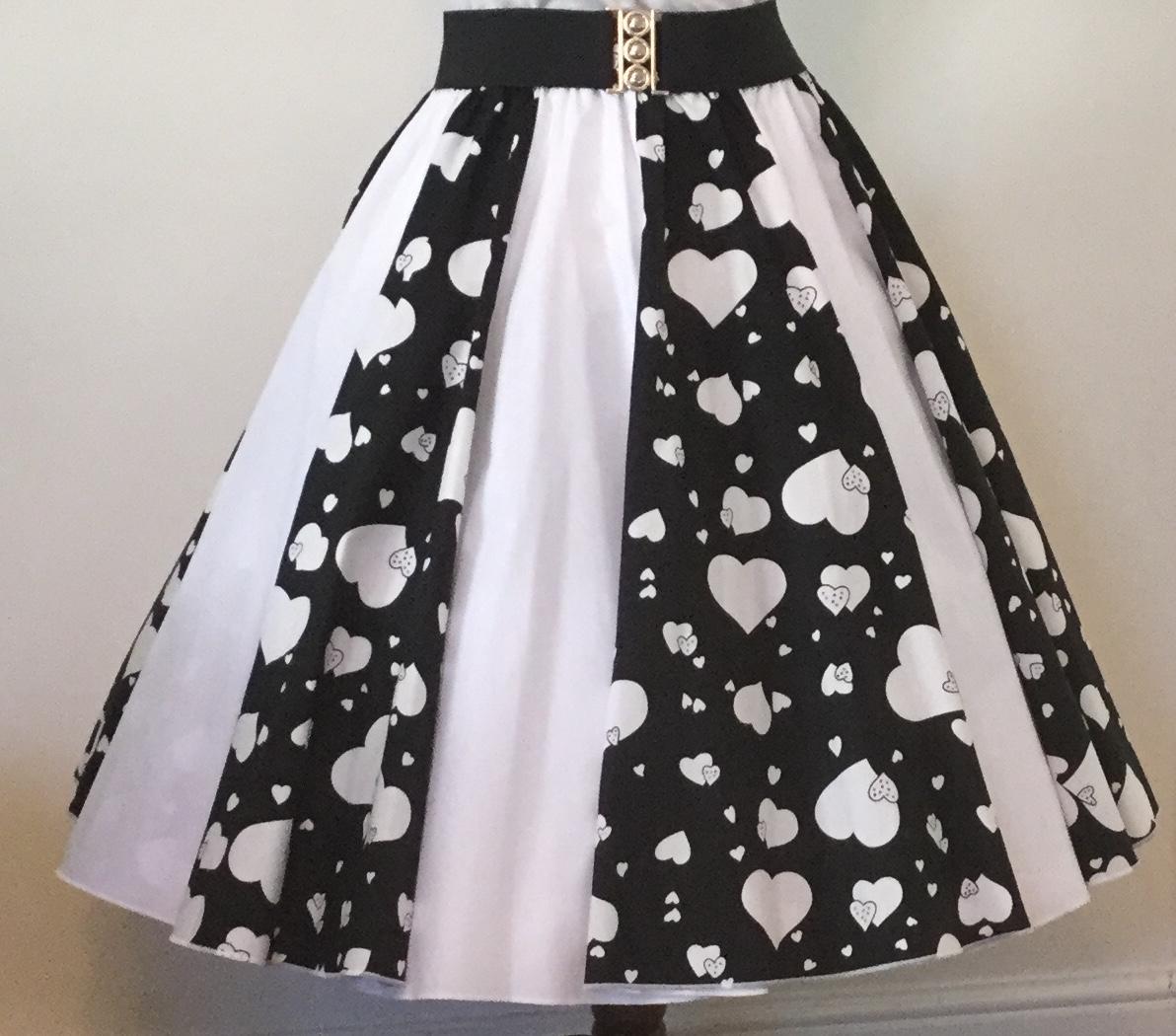 Black Random Hearts / Plain White Panel Skirt