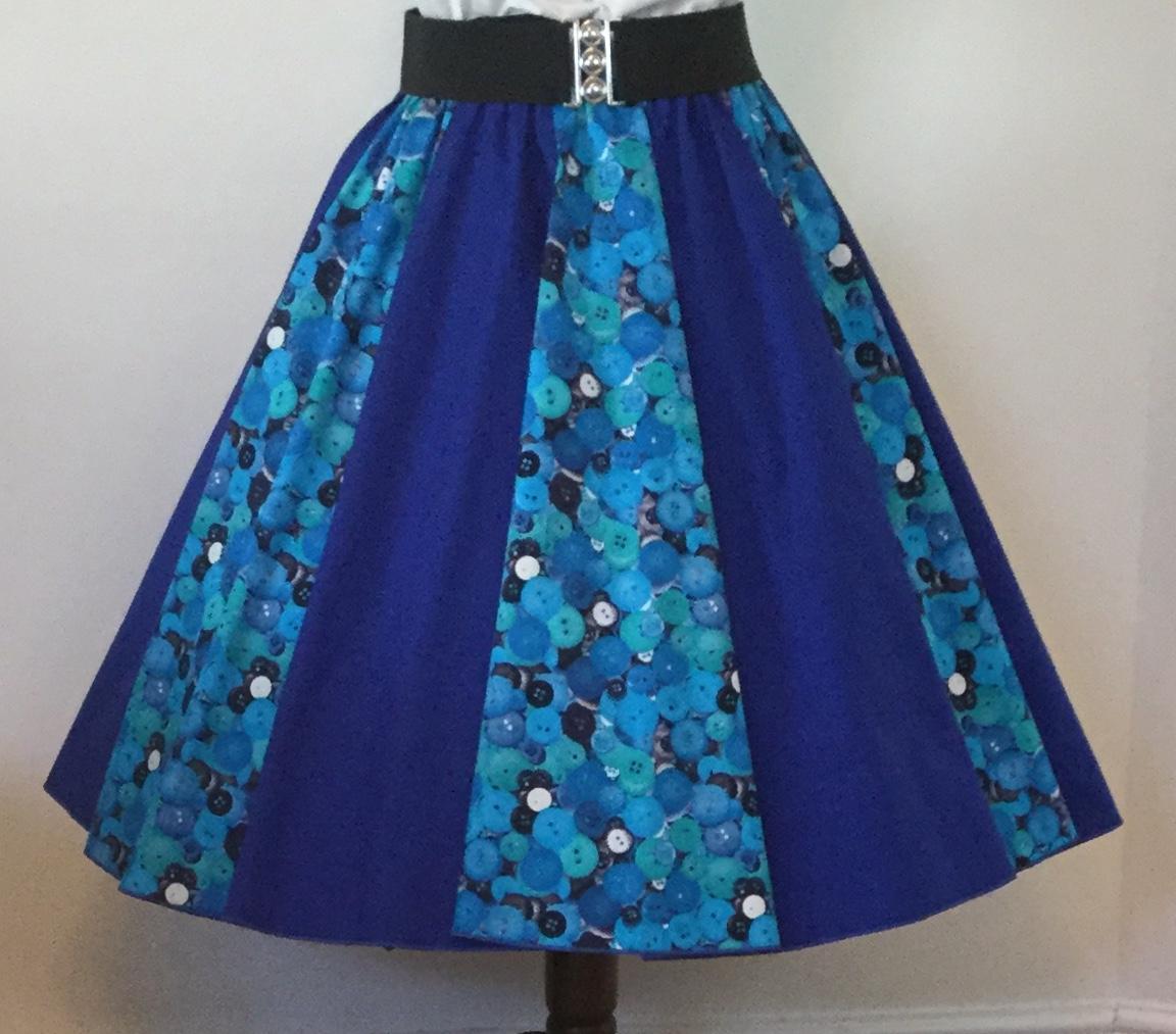 Blue Buttons / Plain Blue  Panel Skirt