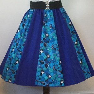 Blue Buttons / Plain Blue  Panel Skirt