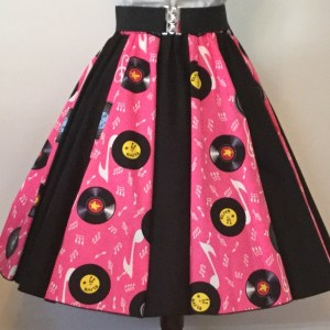 Pink Records / Plain Black Panel Skirt
