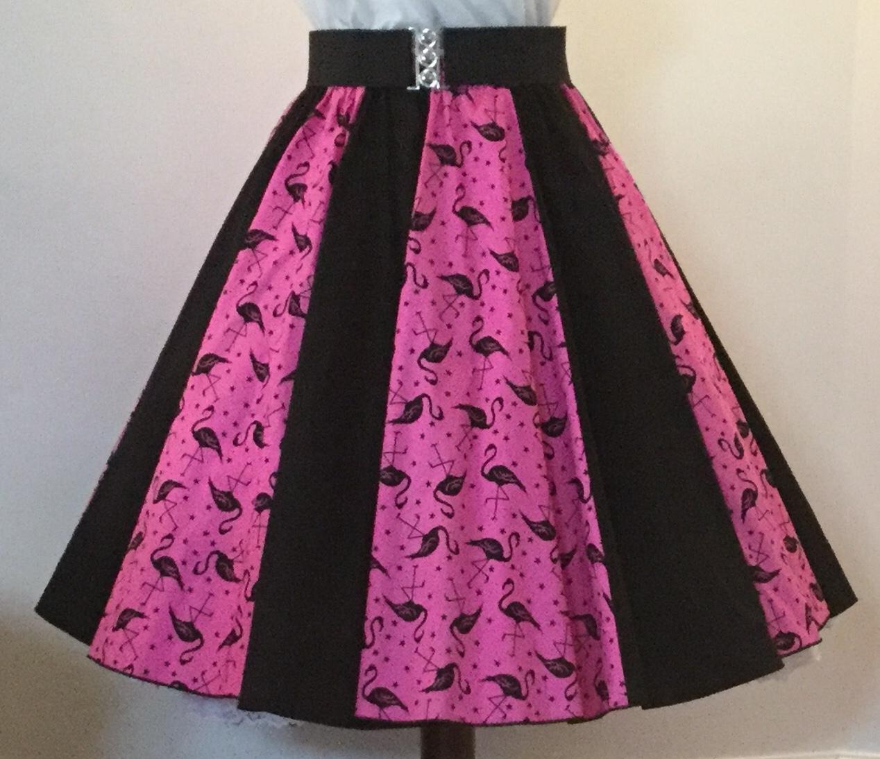Pink Flamingos / Plain Black  Panel Skirt
