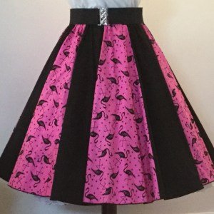 Pink Flamingos / Plain Black  Panel Skirt