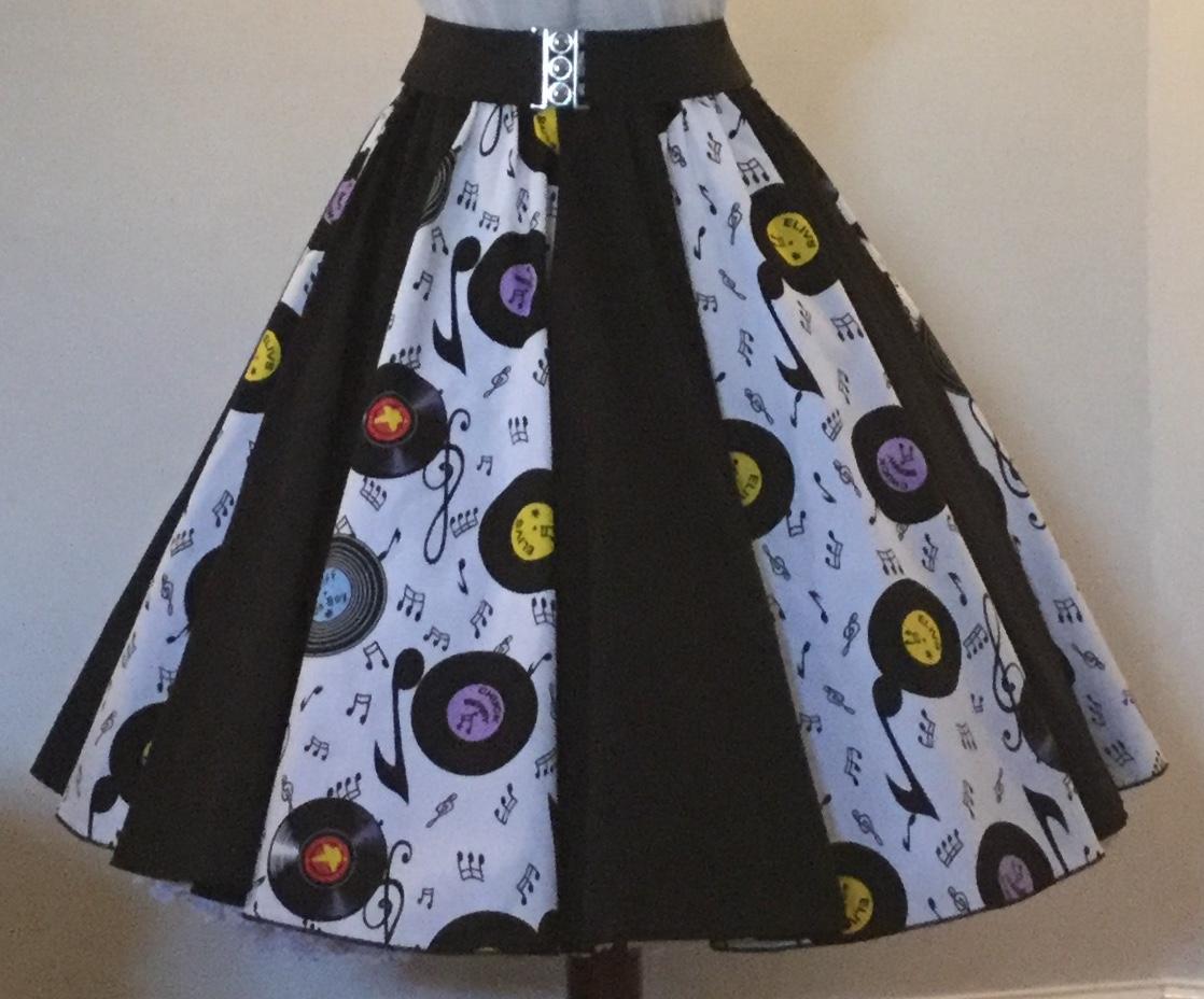 White Records / Plain Black  Panel Skirt