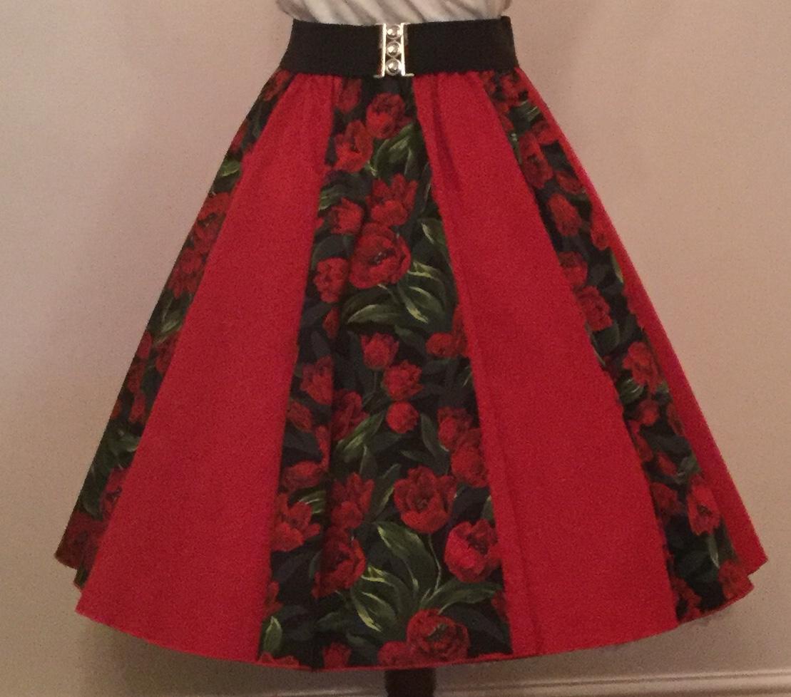 Tulips Print / Plain Red Panel Skirt