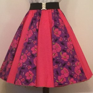 Purple Tropical / Plain Cerise Pink  Panel Skirt
