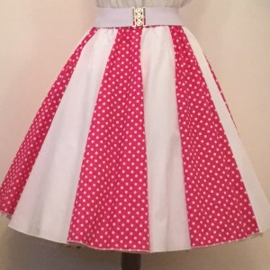 Cerise Pink & Wht PD / Plain Wht Panel Skirt