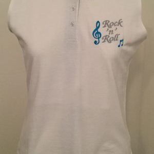 Ready Embroidered White / Black Sleeveless Polo Shirt (Size 14)