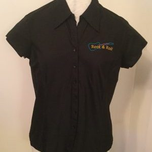 Ready Embroidered Cap Sleeved Black Blouse (Size 18)