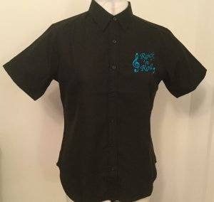 Ready Embroidered Short Sleeved Black Blouse (Size 14)