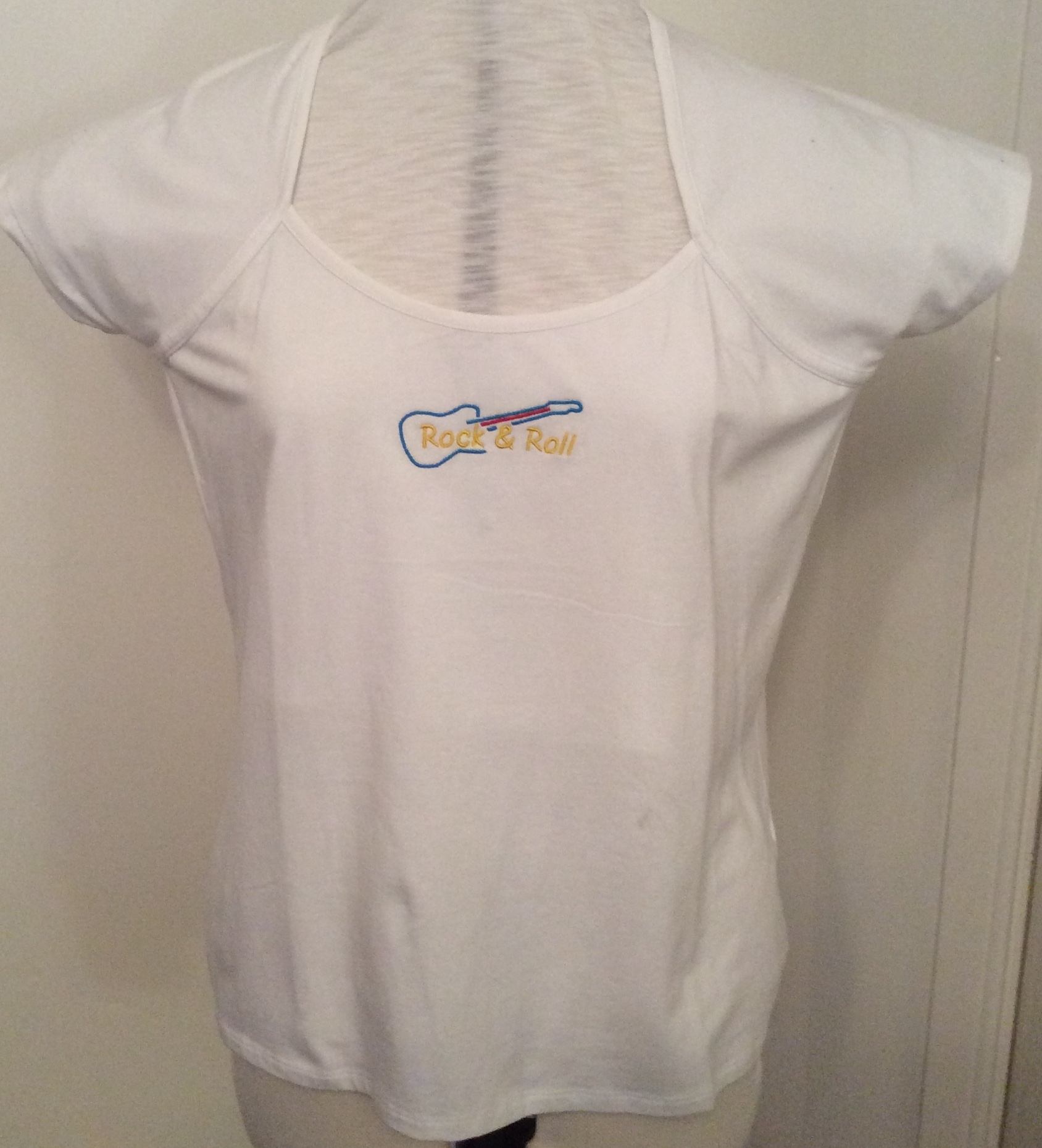 Rdy Emb  Wht Scoop Neck T-Shirt (Size 20/22)