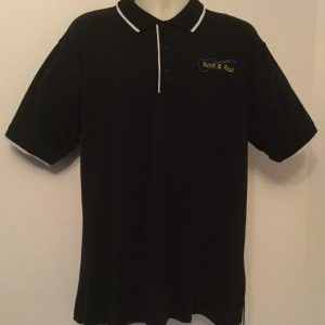 Ready Embroidered Mens Black/ White Polo Shirt (Size XLarge)