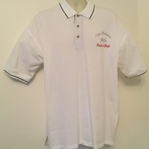 Ready Embroidered Mens White/ Navy Polo Shirt (Size XLarge)
