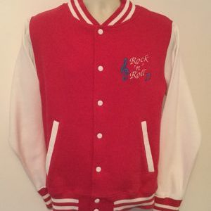 Unisex Varsity Sweatshirt Jacket  Pink/ White (Small)