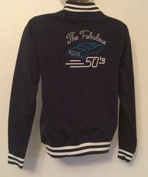 Unisex College Sweatshirt Jacket  Navy/ White(Small)