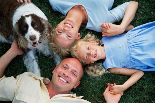 dog with family care about biting