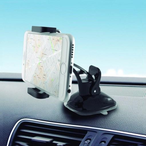 Suporte de Telemóveis para Automóvel com Ventosa KSIX 360º Preto