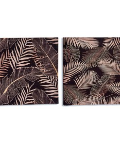 Tela Preto Tela Folhas (1,5 x 28 x 28 cm)