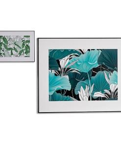 Tela Preto Madeira Tela Folhas (3 x 61,3 x 81,5 cm)
