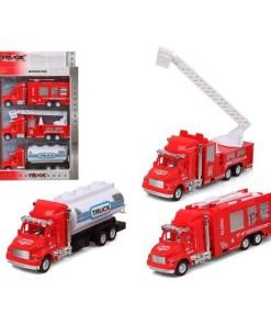 Conjunto veículos Camião de bombeiros Vermelho 119312 (3 Uds)