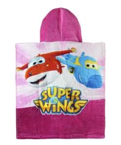 Poncho-Toalha com Capuz Rosa Super Wings