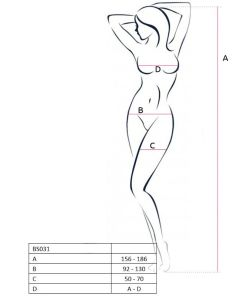 PASSION WOMAN BS031 BODYSTOCKING WHITE ONE SIZE