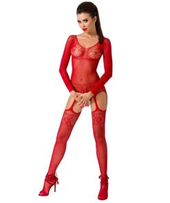 PASSION WOMAN BS055 BODYSTOCKING RED ONE SIZE