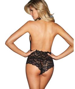 QUEEN LINGERIE BACKLESS DEEP V TEDDY - SIZE S/M