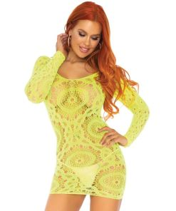 LEG AVENUE CROCHET LACE LONG SLEEVE MINI DRESS NEON ONE SIZE