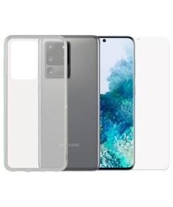 Protetor de vidro temperado para o telemóvel + Estojo para Telemóvel Samsung Galaxy S20 Ultra Contact