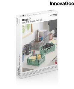 Conjunto de 3 Caixas Organizadoras Dobráveis e Empilháveis Boxtor InnovaGoods