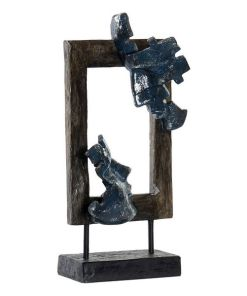 Figura Decorativa Dekodonia Abstrato Metal Resina (18 x 9 x 39 cm)