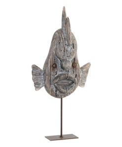 Figura Decorativa Dekodonia Metal Madeira de paulónia Peixe (18 x 4 x 35 cm)