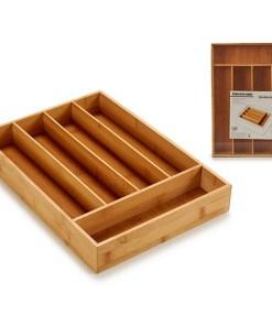 Organizador de Talheres (35,5 x 5 x 25,5 cm) Bambu