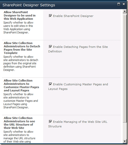 SharePoint Designer Settings screen