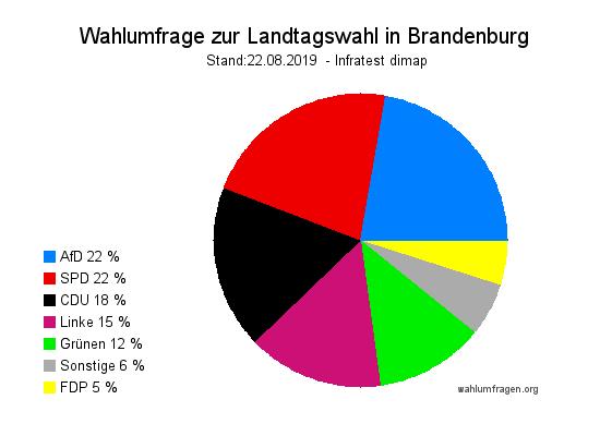 Aktuelle Infratest dimap Wahlumfrage zur Landtagswahl in Brandenburg vom 22. August 2019