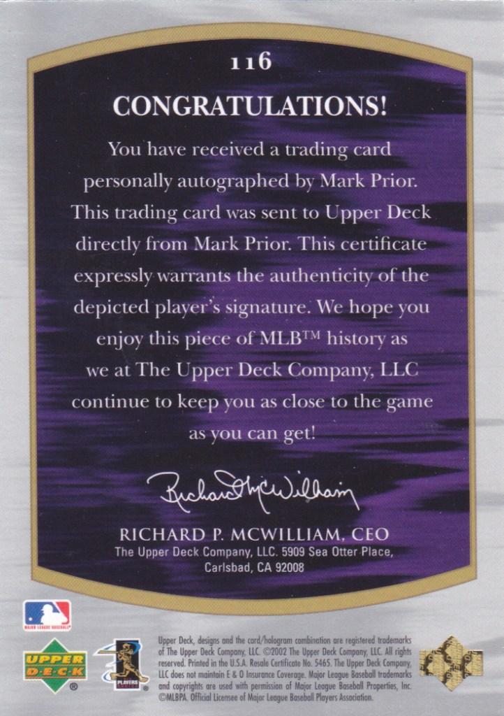 Baseball Cards 2001 Upper Deck Ultimate Mark Prior Wahoo