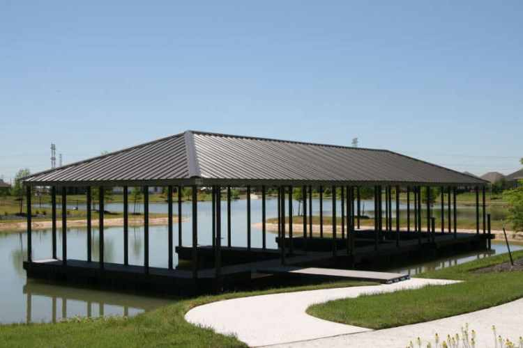 towne lake community dock from wahoo aluminum docks - multiple slips with gable roof
