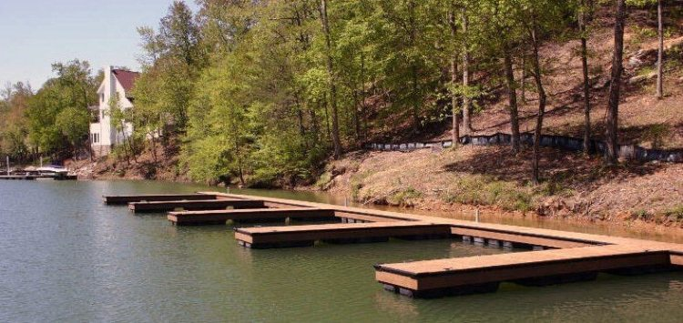 Wahoo aluminum docks community floating dock with multiple boat slips and ipe decking