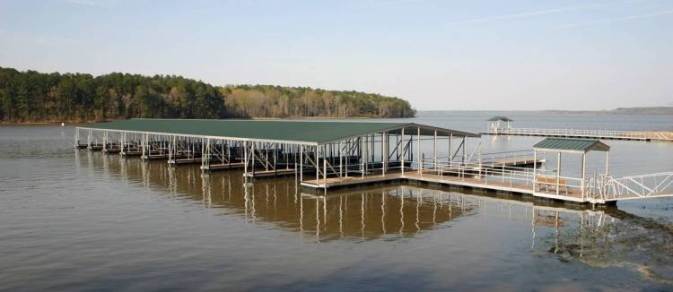 commercial aluminum floating dock - marina construction - with gable roof ipe dock decking and gangway