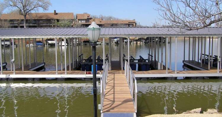wahoo aluminum docks community docks with boat lift and gable roof plus dock gangway with ipe