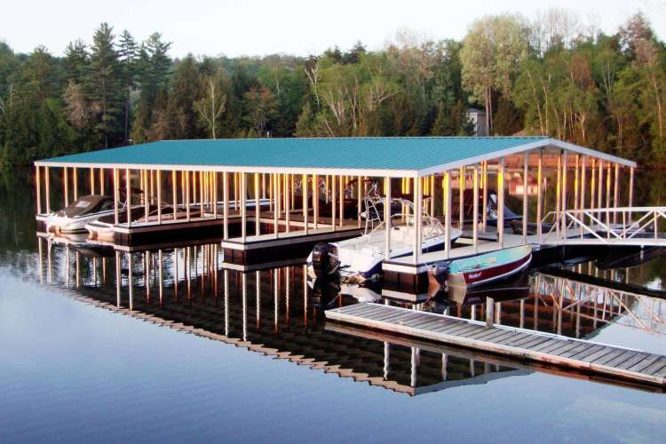 aluminum floating docks - community docks with gangway and gable roof