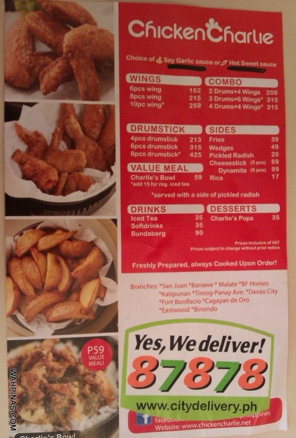 Charlie's Chicken Menu (2)