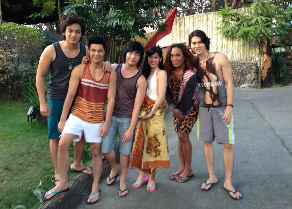 The OPM boy band with leading ladies Negi and Kevin Balot in Bosay Resort where in music video was filmed