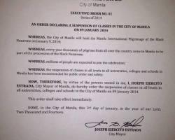 No Classes in Manila on January 9, 2014