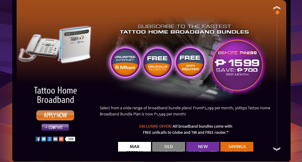 Globe Tattoo Home Bundle At 5 Mbps At 1599 Per Month W