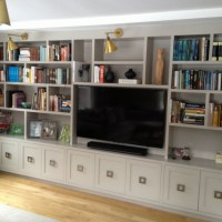 Living Room TV Console Built In Cabinets by Wainscot Solutions