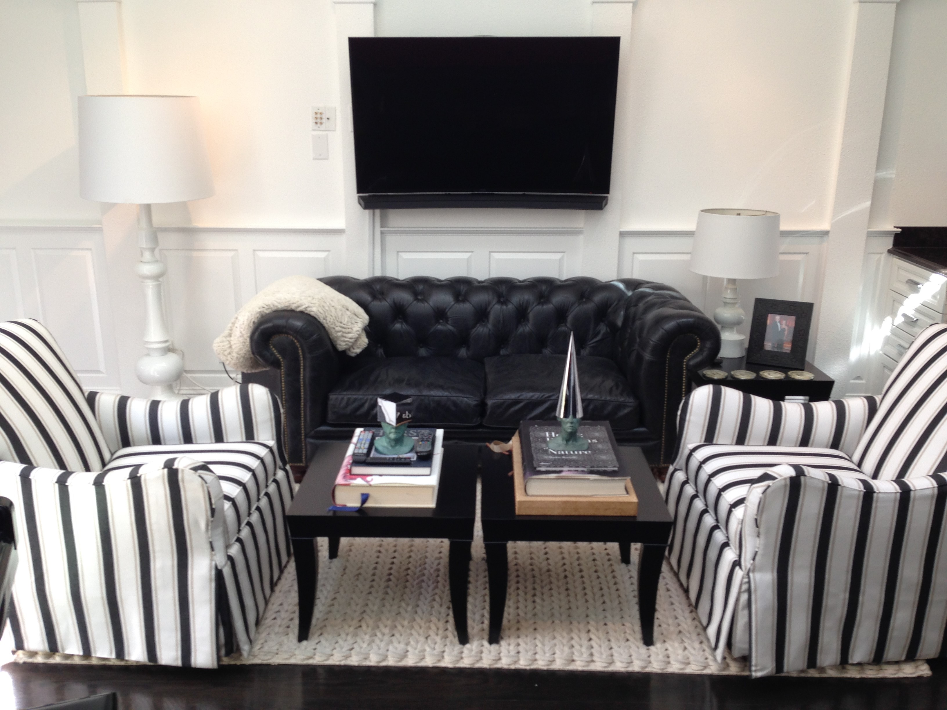 Wainscoting For Living Room Black And White Living Room With Raised Panel Wainscoting