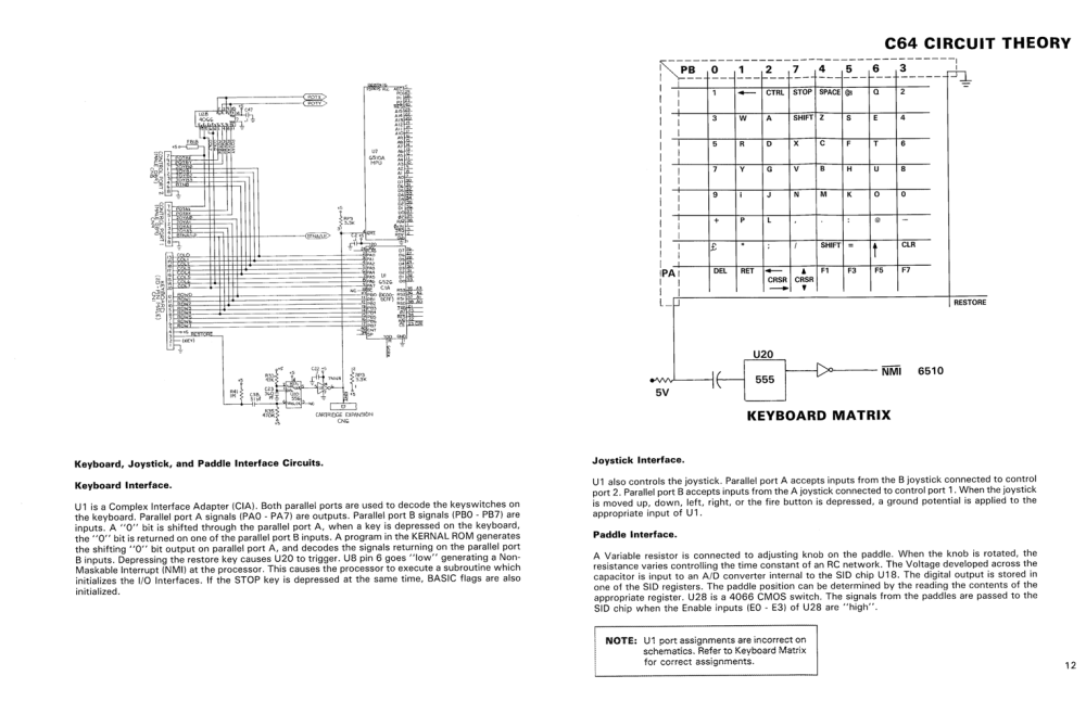 medium resolution of c64 keyboard and cia schematic from the c64 service manual