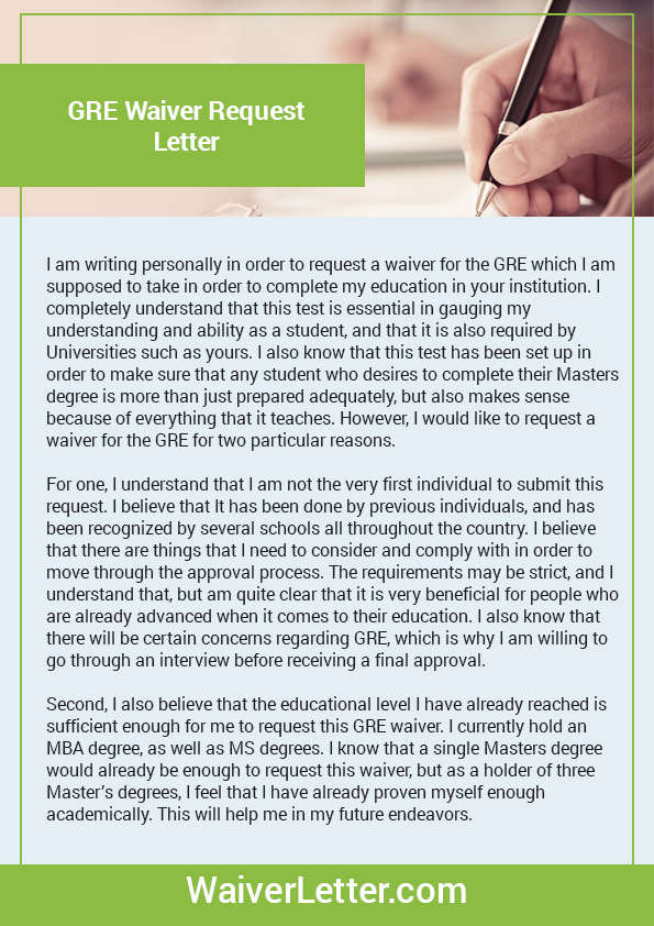 Waiver Letter Sample For GMAT GRE TOEFL & 4 More Waivers
